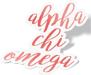 Alpha Chi Omega Cursive Word Sticker Decal Greek for Window Laptop Computer Car Alpha Chi AXO (Coral)