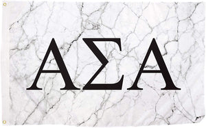 Alpha Sigma Alpha Sorority Letter Flag Banner 3 feet x 5 feet Sign Decor ASA - Light Marble