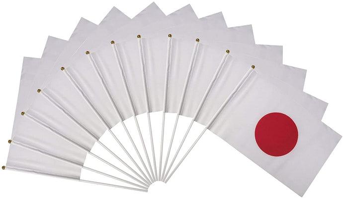 Japan Polyester Country Flags Desk Outside Waving Parade Japanese (12-Pack Hand Flag)