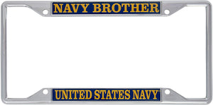 US Navy Brother License Plate Frame For Front Back of Car Officially Licensed United States