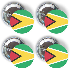Guyana Four Pack of Flag Pin Back Badge Buttons 2.25-inch Round Guyanese
