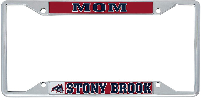 Stony Brook University Seawolves NCAA Metal License Plate Frame For Front Back of Car Officially Licensed (Mom)