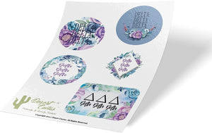 Delta Delta Delta Sorority Purple Floral Desert Cactus Full Sheet Sticker Vinyl Decal Laptop Water Bottle Car Scrapbook tri delta (P. Foral Sheet)