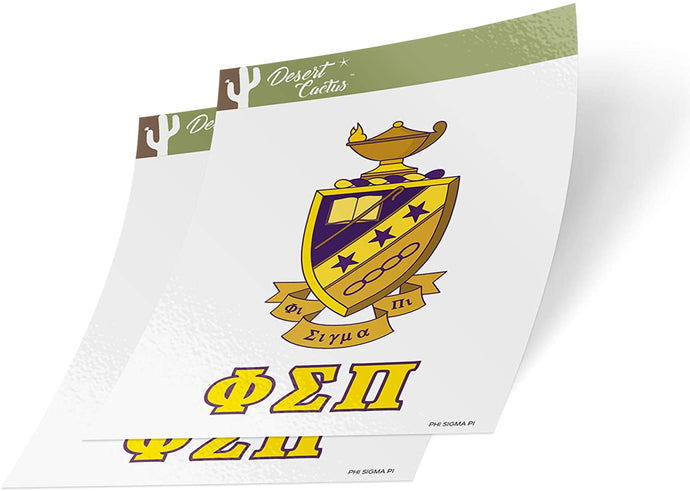 Phi Sigma Pi Letter 2-Pack Decal Greek for Window Laptop Computer Car (Crest Sticker)