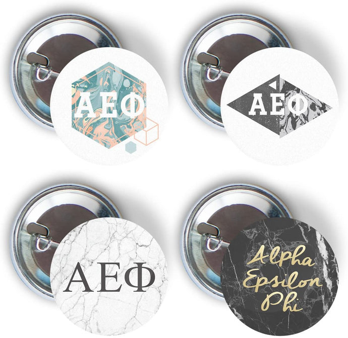 Alpha Epsilon Phi Sorority 4 Pieces of Variety Buttons Pin Back Badge 2.25-inch A E Phi - Marble Pack