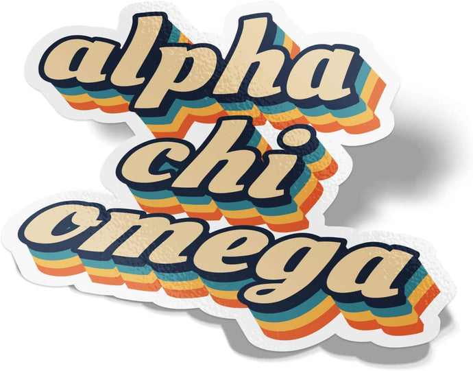 Alpha Chi Omega 70's Letter Sticker Decal Greek Tall for Window Laptop Computer Car Alpha Chi AXO