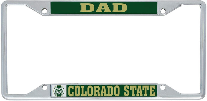 Colorado State University CSU Rams NCAA Metal License Plate Frame For Front Back of Car Officially Licensed (Dad)