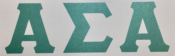 Alpha Sigma Alpha Sea Foam Glitter Letter Sticker Decal Greek 2 Inches Tall for Window Laptop Computer Car ASA