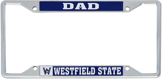 Westfield State University WSU Owls NCAA Metal License Plate Frame For Front Back of Car Officially Licensed (Dad)