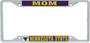 Minnesota State University Mankato MNSU Mavericks NCAA Metal License Plate Frame For Front Back of Car Officially Licensed (Mom)