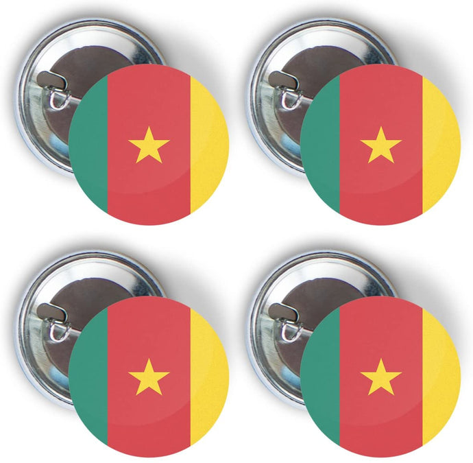 Cameroon Four Pack of Flag Pin Back Badge Buttons 2.25-inch Round Cameroonian