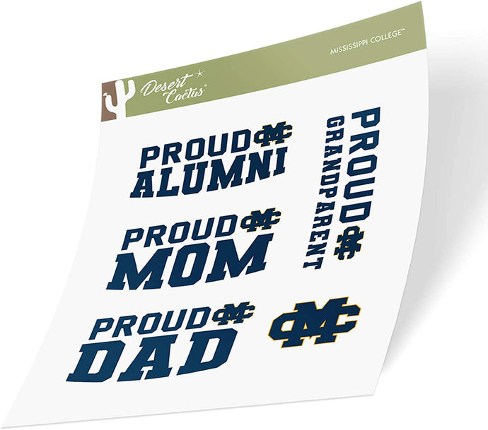Mississippi College Choctaws NCAA Sticker Vinyl Decal Laptop Water Bottle Car Scrapbook (Family Full Sheet)