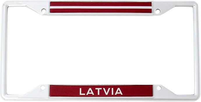 Country of Latvia Latvian Flag License Plate Frame For Front Back of Car Vehicle Truck Latvian