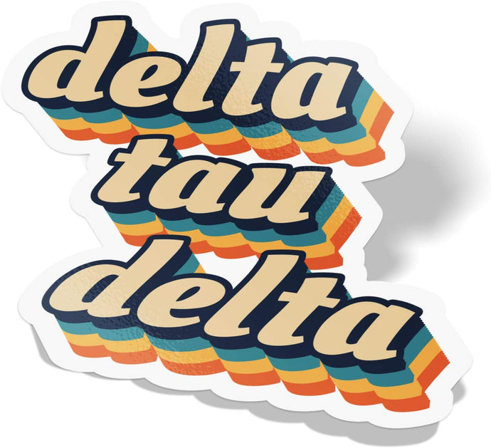 Delta Tau Delta 70's Letter Sticker Decal Greek Tall for Window Laptop Computer Car Delts