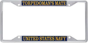 US Navy Torpedoman's Mate Enlisted Rating Insignia License Plate Frame For Front Back of Car Officially Licensed United States