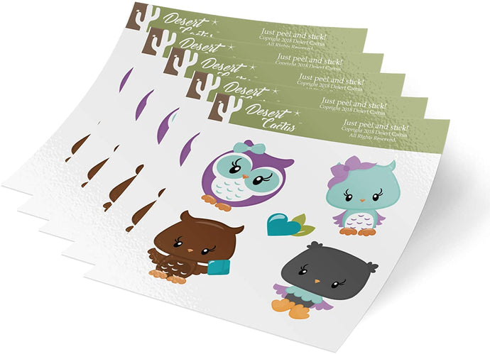Owl 5-Pack Themed Sheets of Stickers 6.5 inch x 7.5 inch Birthday Party Favors Supplies Decals Boy Girl