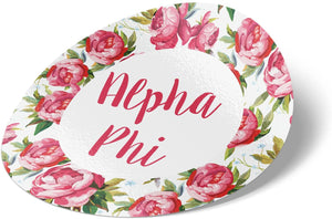 Alpha Phi 3 Inch Circle White Rose Sorority Sticker Decal Exclusively Designed Greek for Window Laptop Computer Car A Phi