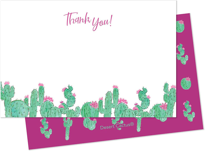 Water Color Cactus 2 Thank You Cards (25 Count) With Envelopes and Seal Stickers Bulk Birthday Party Bridal Blank Graduation Kids Children Boy Girl Baby Shower (25ct)