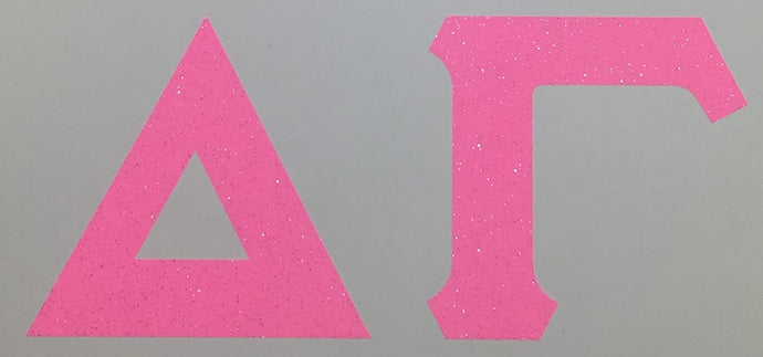 Delta Gamma Sorority Bubble Gum Pink Glitter Letter Sticker Decal Greek 2 Inches Tall for Window Laptop Computer Car DG