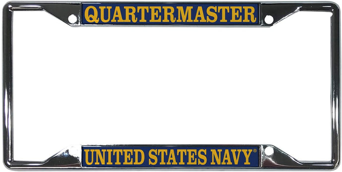 US Navy Quartermaster Enlisted Rating Insignia License Plate Frame For Front Back of Car Officially Licensed United States