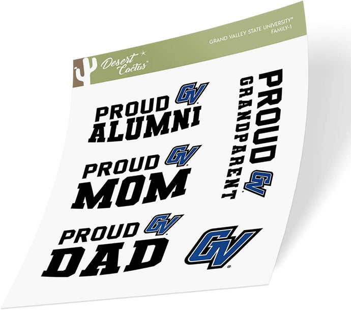 Grand Valley State University GVSU Lakers NCAA Sticker Vinyl Decal Laptop Water Bottle Car Scrapbook (Family Full Sheet)