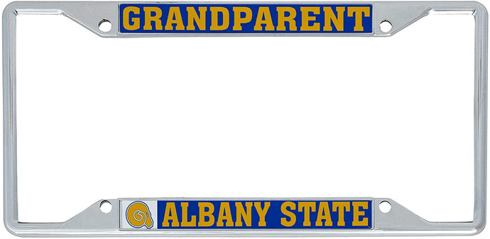 Albany State University ASU Golden Rams NCAA Metal License Plate Frame For Front Back of Car Officially Licensed (Grandparent)