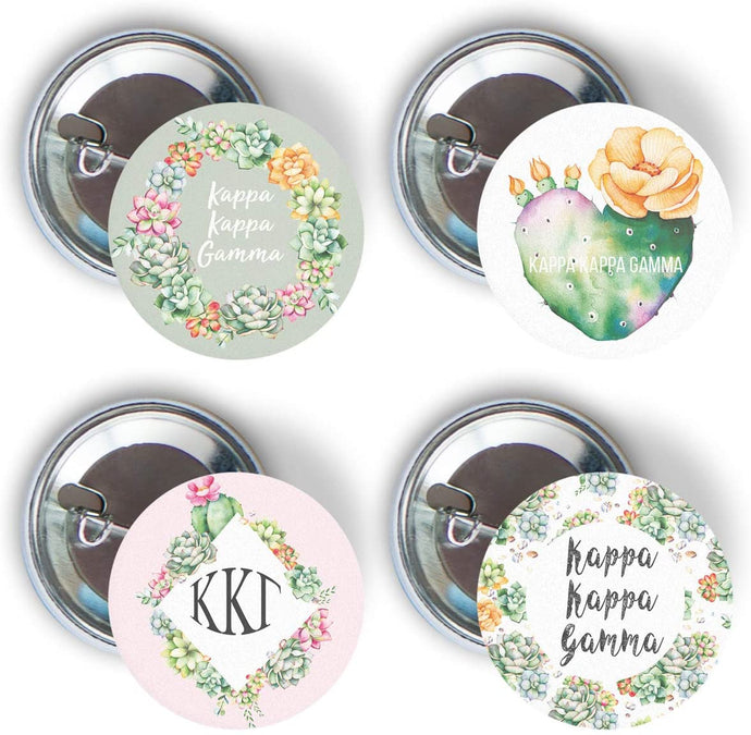 Kappa Kappa Gamma Sorority Succulent Floral 4 Pieces of Variety Buttons Pin Back Badge 2.25-inch kkg