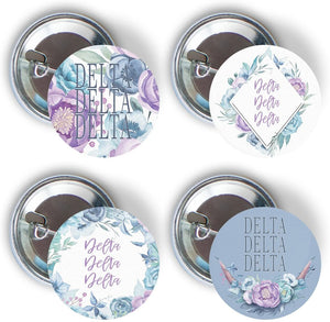 Delta Delta Delta Sorority Purple Floral 4 Pieces of Variety Buttons Pin Back Badge 2.25-inch tri delta