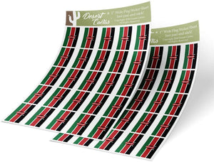 Kenya Country Flag Sticker Decal 1 Inch Rectangle Two Sheets 50 Total Pieces Kids Logo Scrapbook Car Vinyl Window Bumper Laptop Kenyan R