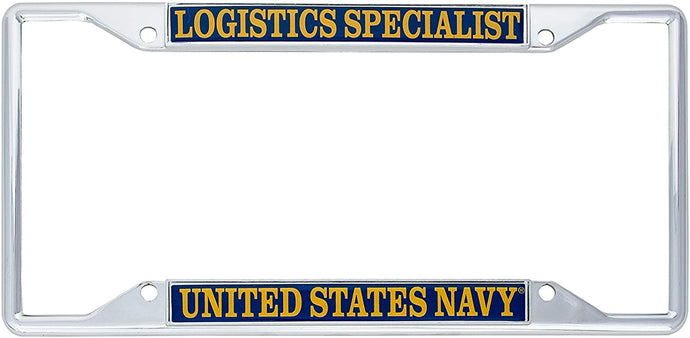 US Navy Logistics Specialist Enlisted Rating Insignia License Plate Frame For Front Back of Car Officially Licensed United States