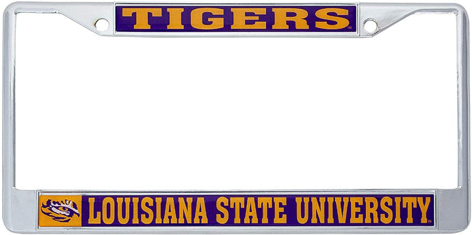 Desert Cactus Louisiana State University LSU Tigers NCAA Metal License Plate Frame For Front Back of Car Officially Licensed (Mascot)