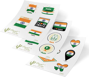 India Country Flag Stickers Decals Kids Logo Scrapbook Car Vinyl Window Bumper Laptop (3 Sheets)