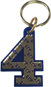 Sigma Gamma Rho Line Number # Acrylic Mirrored Decorative Keychain (#4 Line Number Keychain)
