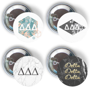 Delta Delta Delta Sorority 4 Pieces of Variety Buttons Pin Back Badge 2.25-inch Tri Delta - Marble Pack