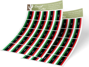 Libya Country Flag Sticker Decal 1 Inch Rectangle Two Sheets 50 Total Pieces Kids Logo Scrapbook Car Vinyl Window Bumper Laptop Libyan R