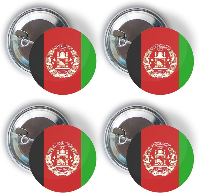 Afghanistan Four Pack of Flag Pin Back Badge Buttons 2.25-inch Round Afghan
