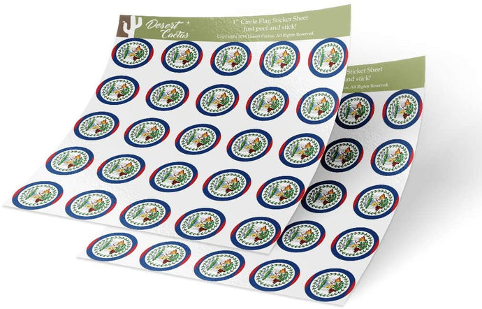 Belize Country Flag Sticker Vinyl Decal 1 Inch Round Two Sheets 50 Total Pieces Kids Logo Scrapbook Car Laptop Belizean C
