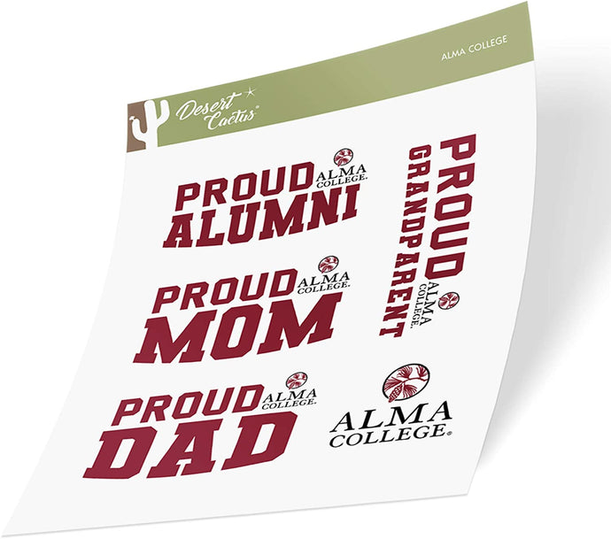 Alma College Scots NCAA Sticker Vinyl Decal Laptop Water Bottle Car Scrapbook (Family Full Sheet)