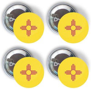New Mexico NM USA Four Pack of Flag Pin Back Badge Buttons 2.25-inch Round