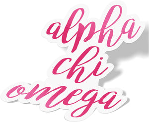 Alpha Chi Omega Cursive Word Sticker Decal Greek for Window Laptop Computer Car Alpha Chi AXO (Pink)