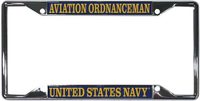 US Navy Aviation Ordnanceman Enlisted Rating Insignia License Plate Frame For Front Back of Car Officially Licensed United States