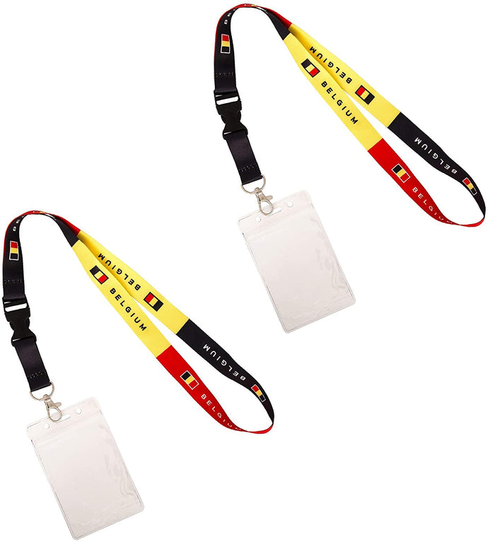 Belgium Country Flag Lanyard 2-Pack Detachable Breakaway Waterproof Zip Card Ship Pass ID Holder Snap Buckle Mens Womens Kids Adult (Cruise)