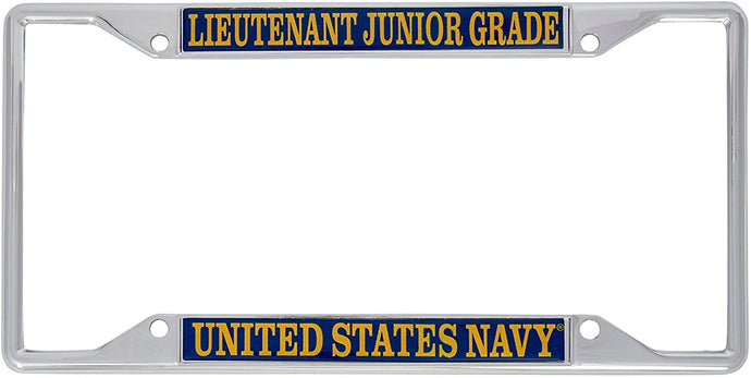 US Navy Lieutenant Junior Grade Officer Grades License Plate Frame For Front Back of Car Officially Licensed United States