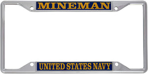 US Navy Mineman Enlisted Rating Insignia License Plate Frame For Front Back of Car Officially Licensed United States