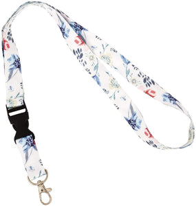 Flowers Garden Lanyard Badge ID Card Keys Keychain Souvenir Holder Nurse Doctor Teacher Office (Design 1)