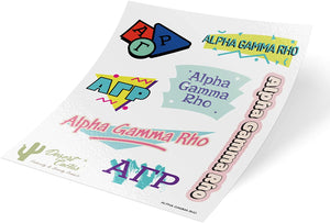Alpha Gamma Rho Themed Sticker Decal Laptop Water Bottle Car agr (Full Sheet - 90's)