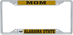 Alabama State University ASU ALASU Hornets HBCU NCAA Metal License Plate Frame For Front Back of Car Officially Licensed (Mom)