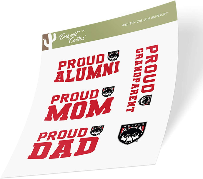 Western Oregon University WOU Wolves NCAA Sticker Vinyl Decal Laptop Water Bottle Car Scrapbook (Family Full Sheet)
