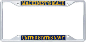 US Navy Machinist's Mate Enlisted Rating Insignia License Plate Frame For Front Back of Car Officially Licensed United States