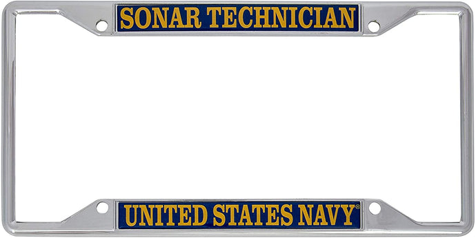 US Navy Sonar Technician Enlisted Rating Insignia License Plate Frame For Front Back of Car Officially Licensed United States